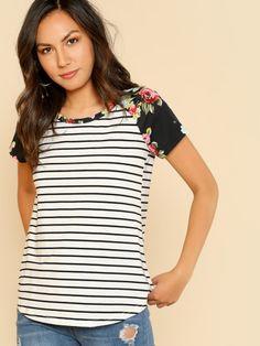 6d361b49d4b Shop Floral Raglan Sleeve Striped Curved Hem Tee online. SheIn offers  Floral Raglan Sleeve Striped