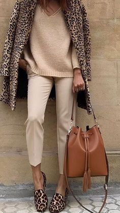 14f61ae4c1 Leopard print fleece coat over tan Pants and pink cashmere sweater Leopard  Print Outfits