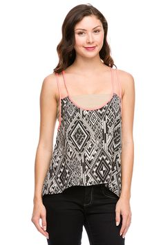 Double strap printed tank with contrast binding.