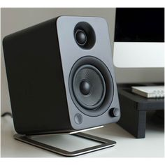 Shop Kanto Desktop Speaker Stands Stainless Steel at Best Buy. Find low everyday prices and buy online for delivery or in-store pick-up. Desktop Speakers, Diy Speakers, Speaker Stands, Speaker Design, Desk Space, Profile Design, Tilt, Apple Tv, Cool Things To Buy