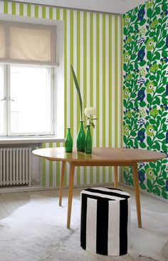 Green Green Wall Mural Green/Blue/White