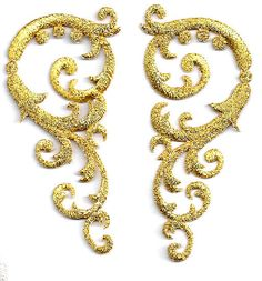 Swirl Art  Abstract Design Set/Gold Metallic Embroidered Appliques