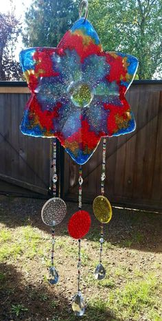 Rainbow Melted Plastic Bead Suncatcher Melted by ElementsOfEnvy