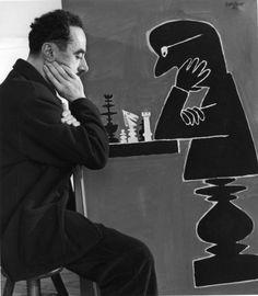 Raymond Savignac aux échecs,1 9 5 0, photo by Robert Doisneau.