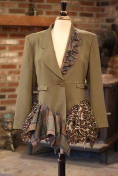 Items similar to Jacket/Custom Orders: Salvage, Repurpose, and Reconstruct Your Exisiting Jackets and Blazers on Etsy Diy Fashion, Ideias Fashion, Fashion Design, Umgestaltete Shirts, Khaki Jacket, Suit Jacket, Khaki Skirt, Diy Vetement, Do It Yourself Fashion