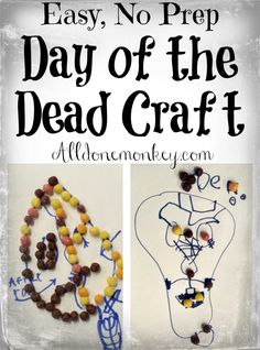 Celebrate Day of the Dead with this easy, no prep, no mess Day of the Dead craft using materials you already have in your house! Fun Halloween Games, Halloween Decorations For Kids, Halloween Crafts For Kids, Preschool Arts And Crafts, Creative Arts And Crafts, Easy Crafts, Activities For Autistic Children, Printable Activities For Kids, Diy Projects For Adults