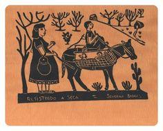 """""""Resistindo à seca"""". Clássico da cultura popular nordestina, traz a visão do artista Severino  Borges de uma família de retirantes. ****  ATENÇÃO: estas xilogravuras foram feitas dentro de uma remessa antiga de peças. Consulte-nos sobre disponibilidade e cor de fundo."""