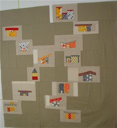 Mid Century House Quilt. Love it! Reminds me of my neighborhood!
