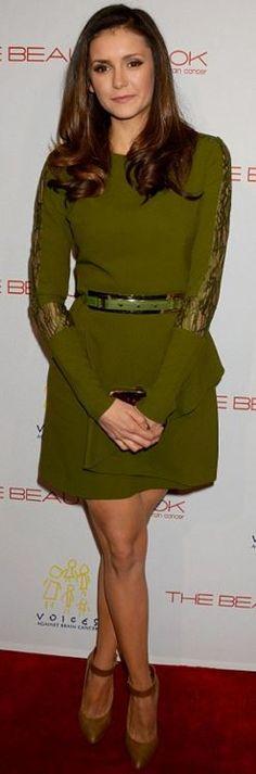 6d54dd496a7 Who made Nina Dobrev s green lace long sleeve dress  Nina Dobrev Style