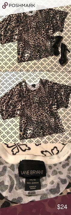 "Lane Bryant Black/Grey Cheetah Cardigan Lane Bryant Black/Grey Leopard Batwing Cardigan Plus size 14/16 100% Acrylic Bust: 42"", waist: 40"", Length: 27"" Lane Bryant Sweaters Cardigans"