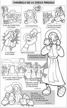 Dibujos para catequesis: PARÁBOLA DE LA OVEJA PERDIDA Bible Resources, Bible Activities, Religion Catolica, Preschool Bible, Catholic Kids, Religious Education, Sunday School Crafts, Bible Crafts, Bible Stories