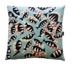 Decorative Pillow POISSON is printed on velvet.  www.kenisahome.com