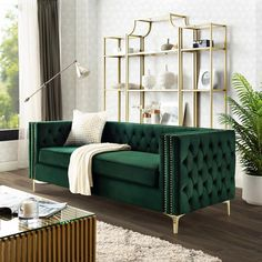 Our velvet right facing corner sectional sofa will give your home the renaissance it deserves. Comfort and style is evident in this dynamic sofa. This sectional features rich hued button tufted velvet fabric with contrasting nailhead trim accenting c Living Room Green, Living Room Chairs, Living Room Furniture, Living Room Decor, Green Home Furniture, Modern Furniture, Furniture Design, Estilo Hollywood Regency, Green Velvet Sofa