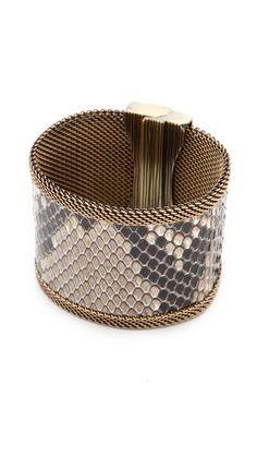 Cynthia Desser Snakeskin Reveresible Wide Cuff