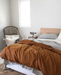 Rich and earthy, our Ochre and Charcoal Striped linen is a classic look. Mix it with white linen sheets to brighten the look. Home Bedroom, Bedroom Furniture, Bedroom Decor, Bedrooms, Warm Bedroom, Ikea Bedroom, Beige Bed Linen, Striped Linen, Beige Bedding