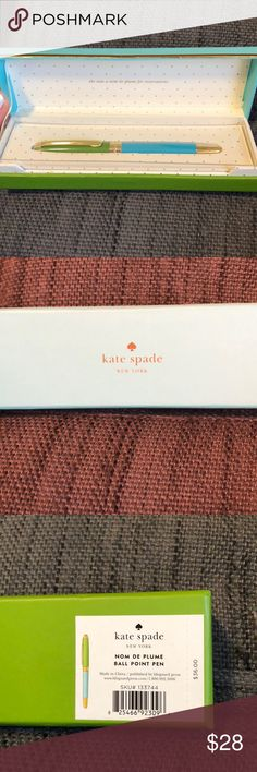 """NWT Kate Spade Nom de Plume ball point pen NWT Kate Spade Nom de Plume ball point pen with black ink in Kate Spade protective box. Inside of box is cream with gold polka dots and says """"she uses a Nom de Plume for Reservations"""". Pen has never been used and has plastic tip covering still on to prevent pen from drying out. Pair with one of my KS notebook sets for additional savings! kate spade Accessories"""