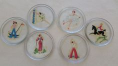 Girlie Coasters Vintage Glass Drink Coasters by LewisAndSon