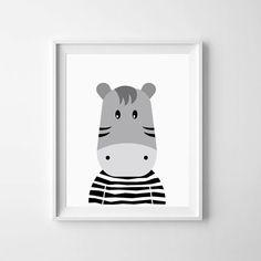 Illustration Nursery printable Baby Zebra Black by LilMateStudio