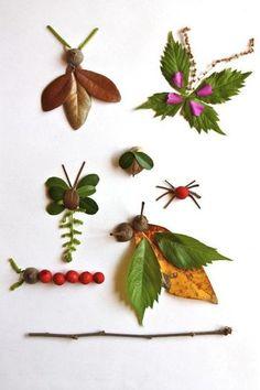 こちらは、落ち葉や木の実を使って作った昆虫たち。立体感があってよりリアル。