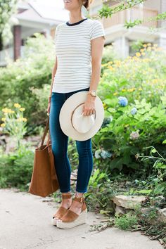 leather earrings, cropped denim, espadrille wedges, fedora, stripes