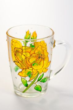 Coffee #mug women Gift for mom, Best friend #gift idea Floral Mug, Yellow Roses, Birthday Present, Gifts for grandma by Vitraaze on Etsy