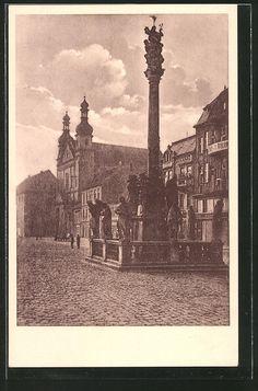old postcard: AK Komotau / Chomutov, Am Marktplatz
