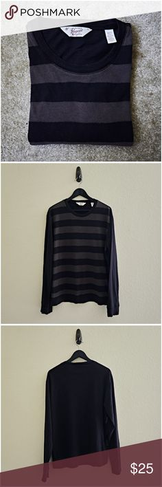 Original Penguin Black Striped Tee This item is used. It's a black long sleeve tee with contrasting horizontal gray stripes on the front of the shirt. It also has some knit rib details around the collar, end of the sleeves and bottom of the shirt. This shirt runs small.  ** Details ** - X-Large - Black - Gray Stripes - Long Sleeve - 100% Cotton Original Penguin Shirts Tees - Long Sleeve