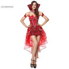 Charmian Red Devil Queen of Darkness Halloween Costume for Women Corset Top Halloween Costume Fantasias Feminina Para Festa