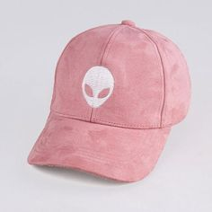 abe8ba53db1 Alien Embroidered Faux Suede Baseball Cap. Pink HatEmbroidered Baseball CapsMens  ...