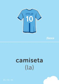 Camiseta #flience #sport #soccer #english #education #flashcard #language Spanish Flashcards, Team Shirts, English Lessons, Vocabulary, Soccer, Language, Letters, Sports, German