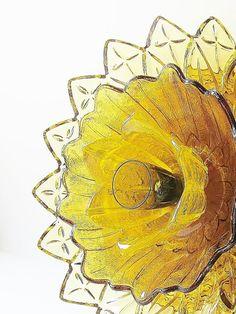 Amber Golden Garden Art Sculpture Yard Decor Glass Plate Flower Suncatcher 'SAFFRON' ......................................... by jarmfarm (via Etsy.com)