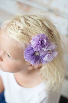 Lavender Purple Flower Clip - La Bella Rose Boutique. Girls accessories. Flower girl hairpiece, easter outfit, photoshoot outfit.