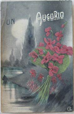 1919 Paesaggio con Fiori Un Augurio  EBM stampato in Italia cartolina con francobollo Italia uno da 10 e uno  da 5 centesimi