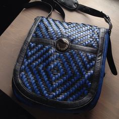 """Cute blue and black woven flap shoulder bag Dimensions are 10""""x11"""" and the shoulder strap is adjustable up to 41"""". It can be worn as a cross body. This was used just a couple times. Melie Bianco Bags Shoulder Bags"""