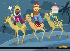 A nice background to celebrate the end of Christmas holidays: the Three wise men traveling on their camels to see the newborn Jesus. Use it to celebrate holidays and send your best wishes to your friends, family, or clients. High quality JPG included. Under Commons 4.0. Attribution License