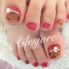 toesnails nails foot footnail red 秋冬ネイル ネイル フットネイル フットジェル べっ甲 fashion party