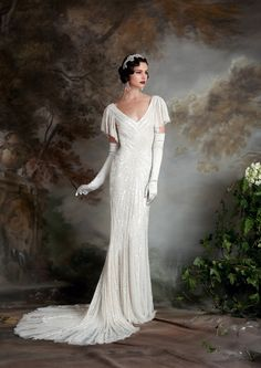 Super Glam Mark Zunino Wedding Gown Featuring Striking Silver