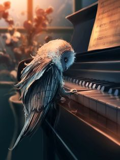 Amazing Digital art painting of an owl playing the piano. Art And Illustration, Illustrations, Wow Art, Miyazaki, Fantasy Creatures, Urban Art, Amazing Art, Awesome, Fantasy Art