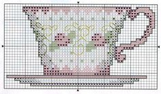 Tea cup cross stitch. Also good for plastic canvas designs!