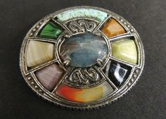 Vintage Scottish Signed Miracle Agate Celtic Kilt Pin Brooch Colorful Pewter