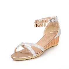 WeiPoot Women's Buckle Open Toe Low-heels PU Solid Wedges-Sandals with Metal -- You can get more details by clicking on the image.