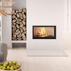 The Rais Visio Technically smart, elegant and simple. Electric Stove Fireplace, Fire Inserts, Insert Stove, Kensington House, Seasoned Wood, Cottage Renovation, Log Burner, Modern Fireplace, Natural Home Decor