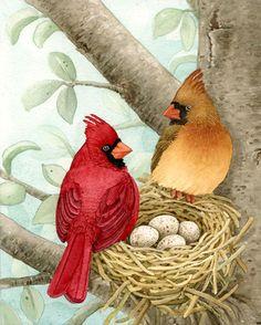 Tracy Lizotte - 'Bird Tree' Cardinals (561x700)