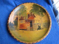 Antique Sweden wood plate Handmade carved house Aug . S Seilze woodenware #ArtDeco #AugSeilze
