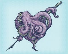 """""""CephaLovePod"""" is an illustration by Chicago-based artist Phineas X. Jones of Octophant that depicts a lovable octopus all cuddled up around a harpoon in the shape of a heart."""
