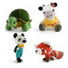 Animal Amigurumi Patterns - Turtle, Cow wearing a dress, Panda wearing a jumper and bow tie, and fox with huge tail.