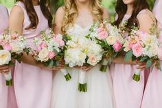 pink and white bridesmaid bouquets or pink bridesmaids Bridesmaid Bouquet White, Pastel Bridesmaid Dresses, Pink Bridesmaids, Wedding Dresses, Pink And Gold, Wedding Day, Weddings, Cute, Mariage