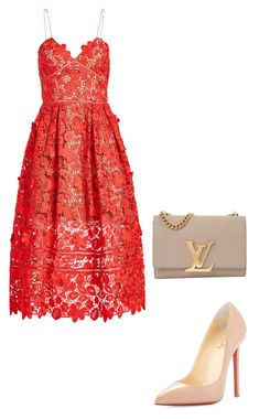 """""""Night look"""" by saviajaff on Polyvore featuring self-portrait, Christian Louboutin and Louis Vuitton"""