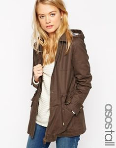 ASOS TALL Wax Jacket With Check Liner
