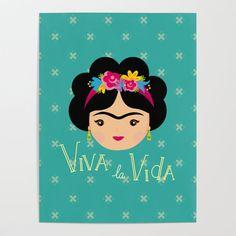 Frida Kahlo Viva la Vida Art Print by muniko - X-Small Frida Kahlo Cartoon, Mini Vasos, Frida Art, Canvas Prints, Art Prints, Diy Frame, Folded Cards, Vibrant Colors, Clip Art